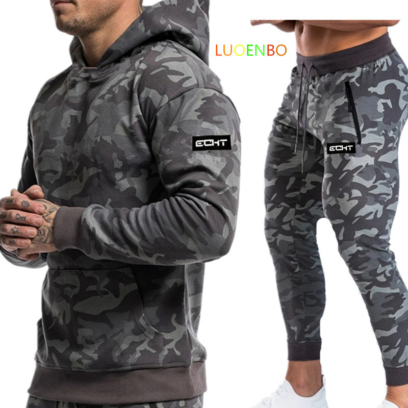 2020 New Sportsuits Set Men  Brand Fitness Suits Autumn Men Set Long Sleeve Camouflage Hoodies+Pants Gyms Casual Sportswear Suit