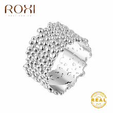 ROXI-Anillos clásicos de Boda sin decoloración, anillos de compromiso dorados de 1,3 CM de ancho, anillo de cóctel, joyería para el dedo, superficie de corteza de árbol
