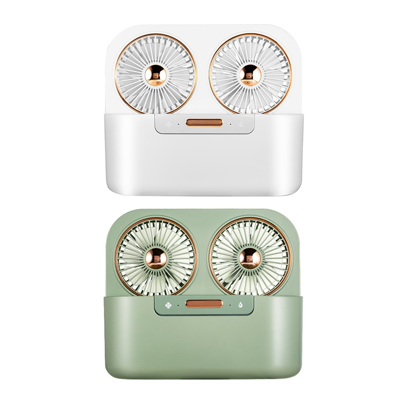 Double Head Spray Humidification Water Spray Mist Fan Electric USB Rechargeable Air Conditioner for Outdoor