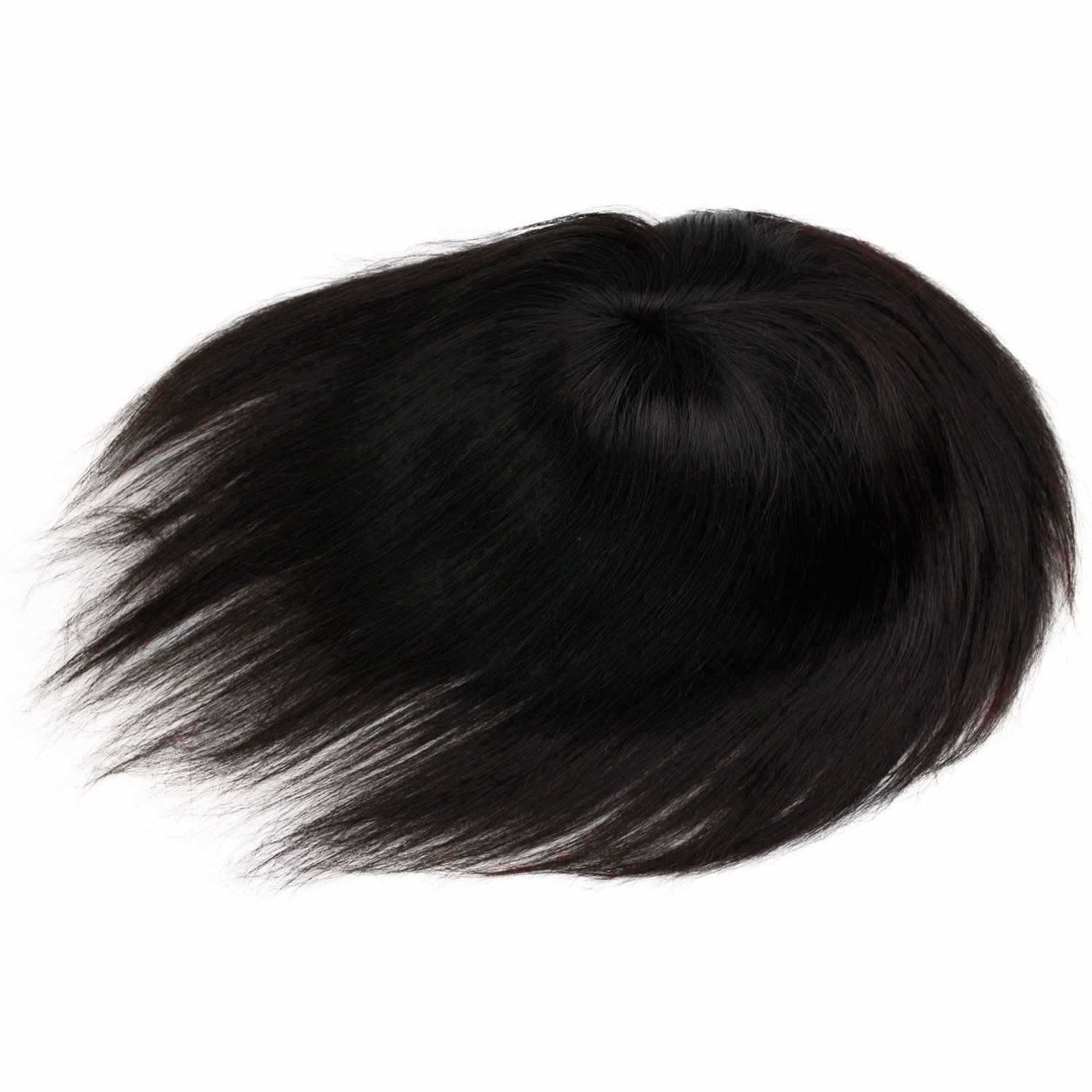 """European Virgin Human Hair Toupee for Men Hairpiece Swiss Mono Lace with PU Around Medium Density Natural Black Color 6""""x8"""""""