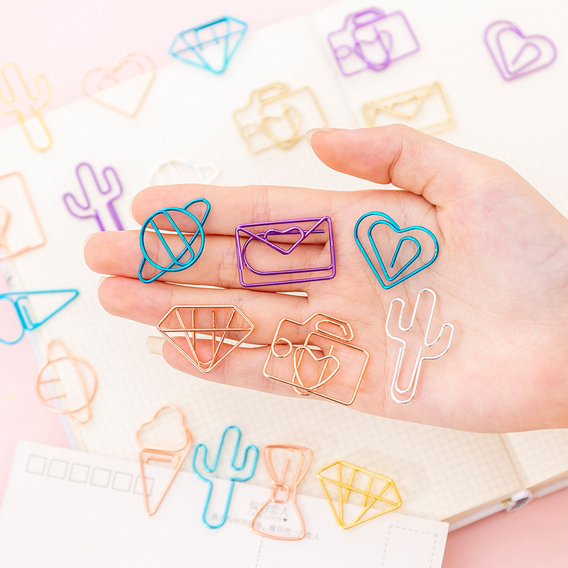10 Pcs/pack Cactus Diamonds Ice Cream Camera Clip Hollow Out Metal Binder Clips Notes Letter Paper Clip Office Supplies