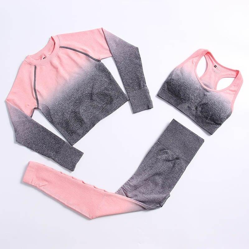 1/2/3pcs סט חלקה נשים של יוגה סט בגדי אימון כושר ספורט חדר כושר בגדים ארוך שרוול גבוהה מותן הדוק ספורט חליפות