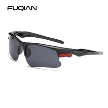 FUQIAN Sports Polarized Men Sunglasses Fashion Rimless Plast
