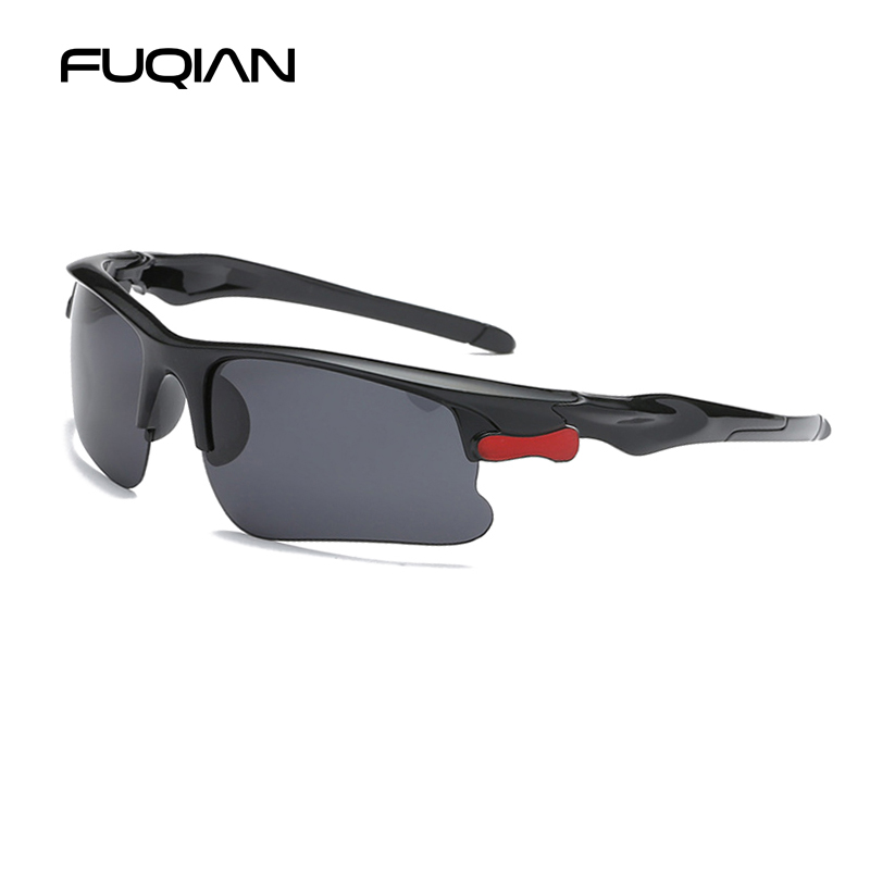 FUQIAN Sports Polarized Men Sunglasses Fashion Rimless Plastic Sun Glasses Women Vintage Outdoor Sport Goggles UV400