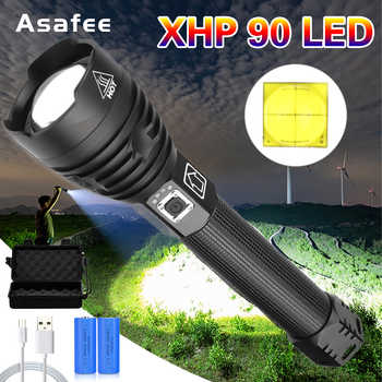Asafee XHP90 LED Flashlight Lamp Powerful Zoom Torch 26650 USB Rechargeable Tactical Light Outdoor Camping Hunting Lamp