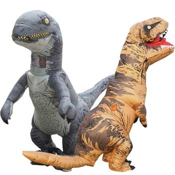 Cosplay T Rex Inflatable Velociraptor Costume Halloween Dinosaur T REX Costume For Women Men Kid Raptor Suit Dino Rider Dinosaur
