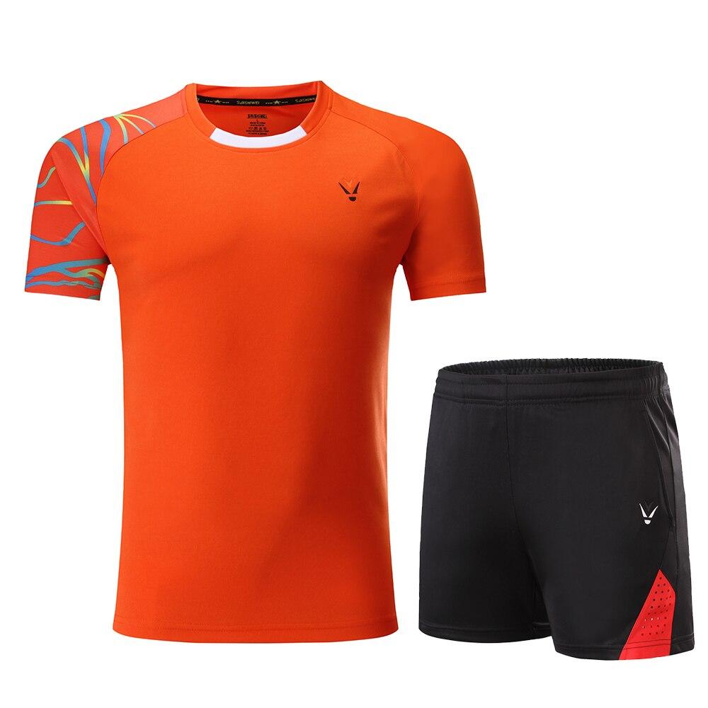 Комплекты для мужчин и женщин, футболки для бадминтона, черная рубашка для бадминтона, рубашка для бадминтона для мальчиков, Униформа, комплекты для настольного тенниса, шорты, одежда - Цвет: Orange