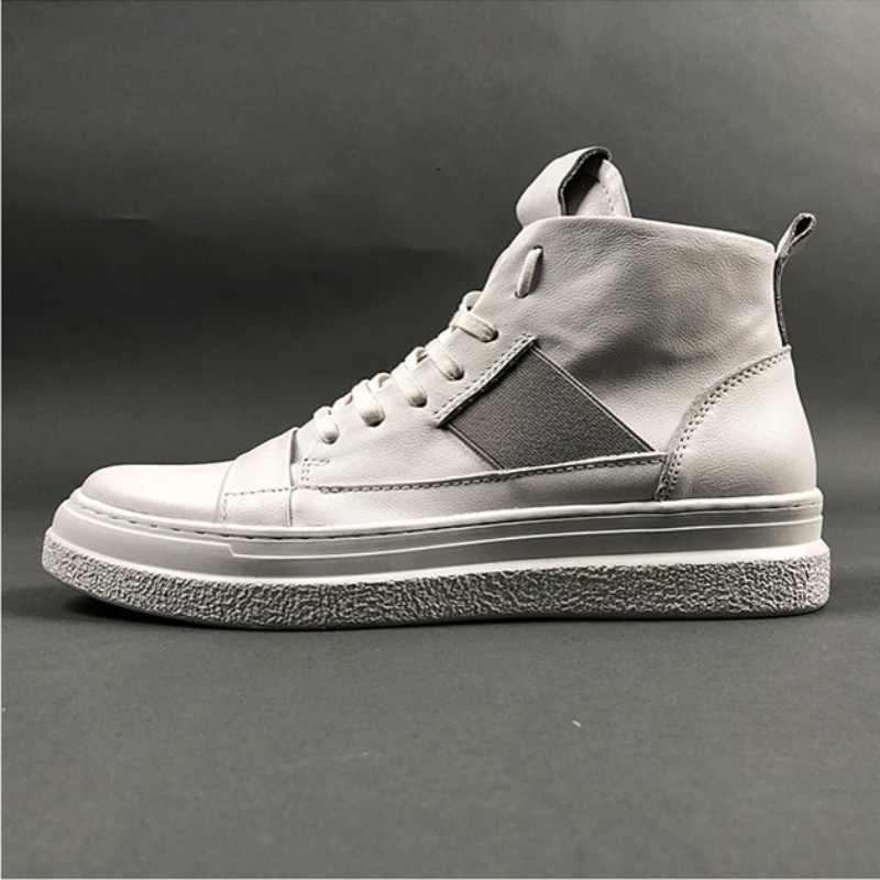 ของแท้หนัง High-Top รองเท้าผู้ชาย Street Breathable Lace Up รองเท้าผ้าใบสีขาว Hip Hop สบายรองเท้าแบน Zapatos de Hombre