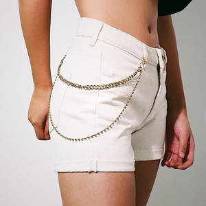 Chain Belt Rhinestone Punk Women Trousers Pants Accessories Fashion Hip-Hop Rock Link
