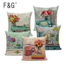 Vintage flores cojines cubierta Flor de melocotón decoración del hogar funda de almohada de lino decorativo rosa azul cojines funda de almohada