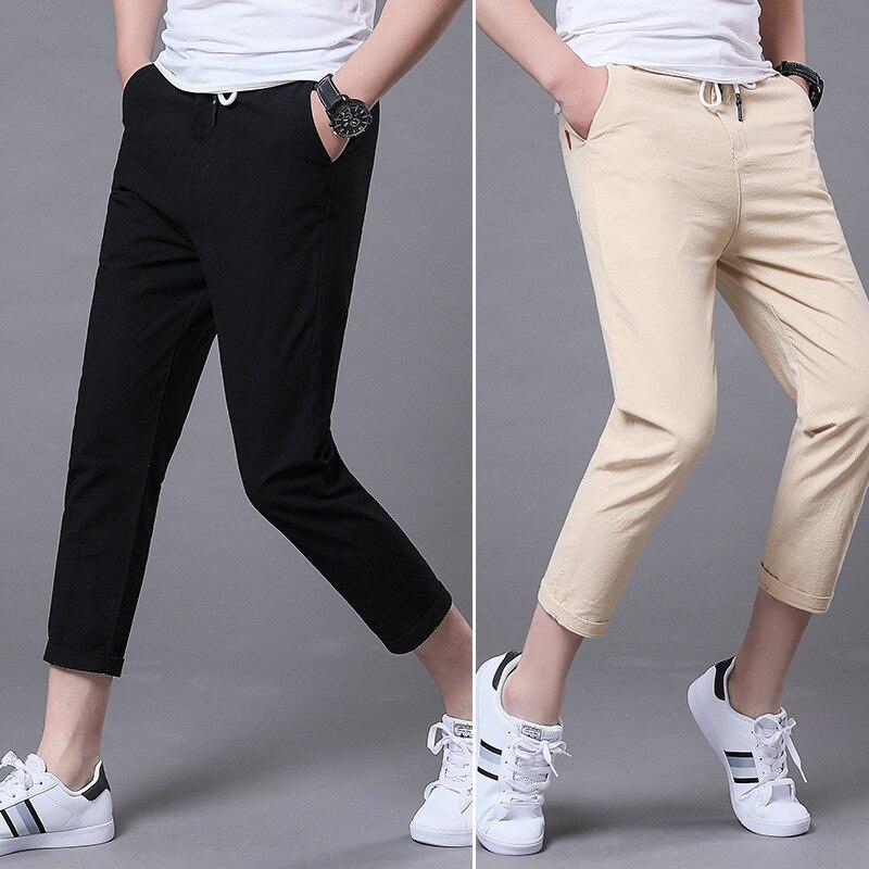 2019 Spring And Summer-Men'S Wear New Style Pure Cotton Imitation Linen Casual Pants Solid Color Men Slim Fit 9 Capri Pants K09h