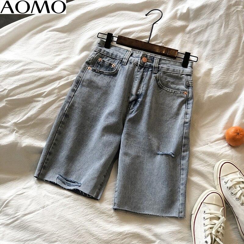 AOMO Fahsion Women Elegant Jeans Shorts Ripped Hole Pockets Female Retro Casual Shorts Pantalones High Quality ASF16A