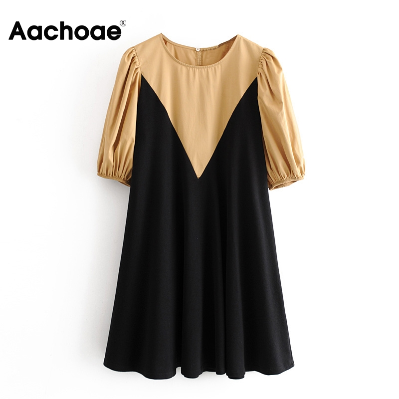 Aachoae Women O Neck Patchwork Mini Dress 2020 Puff Sleeve Loose Casual Dress Female Elegant Vintage Short Dresses Vestidos