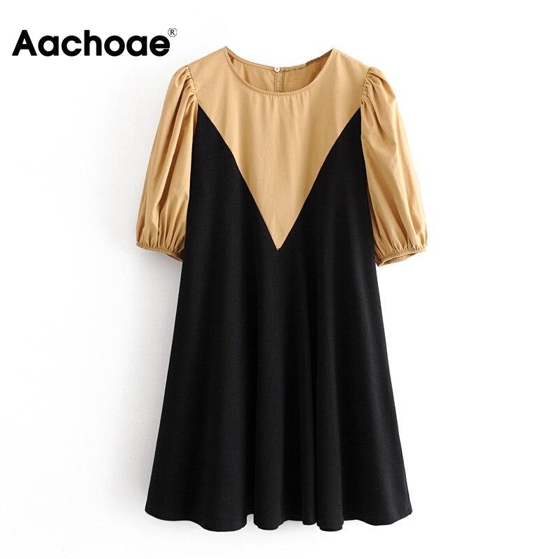 Aachoae Women O Neck Patchwork Mini Dress 2020 Puff Sleeve Loose Casual Dress Female Elegant Vintage Short Dresses Vestidos