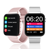 Reloj inteligente deportivo para hombre y mujer, pulsera con llamadas, mensajes, recordatorios, Bluetooth, resistente al agua, color blanco, rosa, para Ios y Android