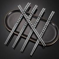 Palillos de Metal de acero inoxidable para adultos, sin aislamiento antideslizante, vajilla Retro Para el hogar, 22,5 cm, 10 pares