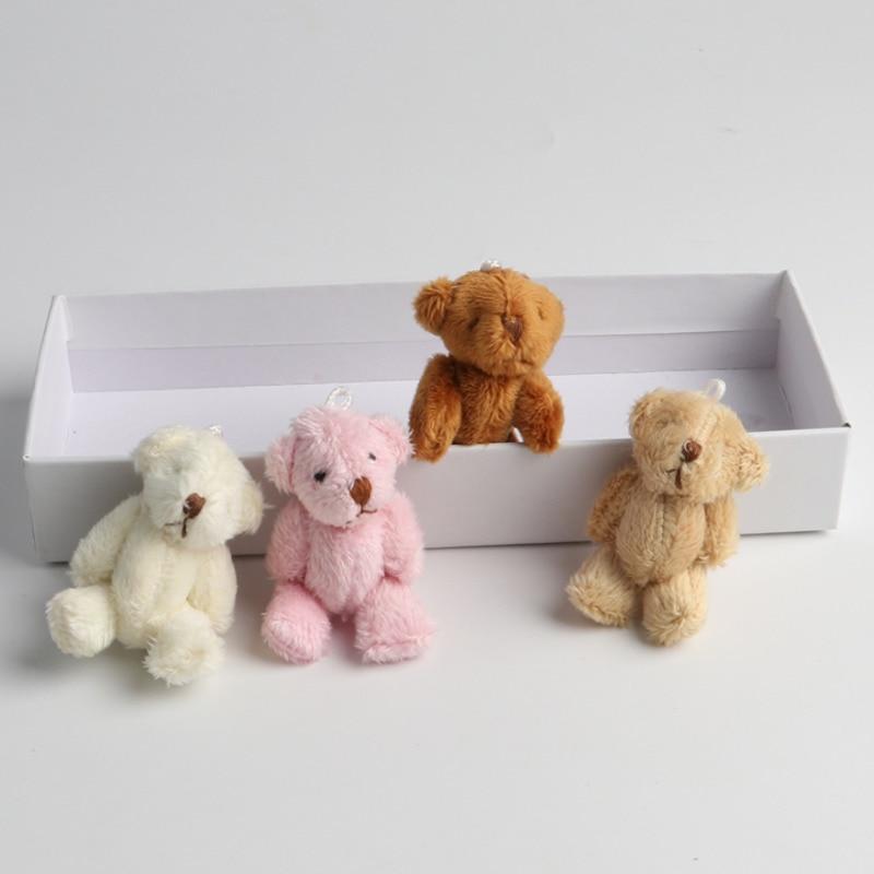 5 Teile/los Mini Bär Stopften Plüsch Spielzeug 6CM Kleine Bär Gefüllte Spielzeug Für Kinder Weiß Rosa Braun DIY Anhänger geburtstag Ornamente