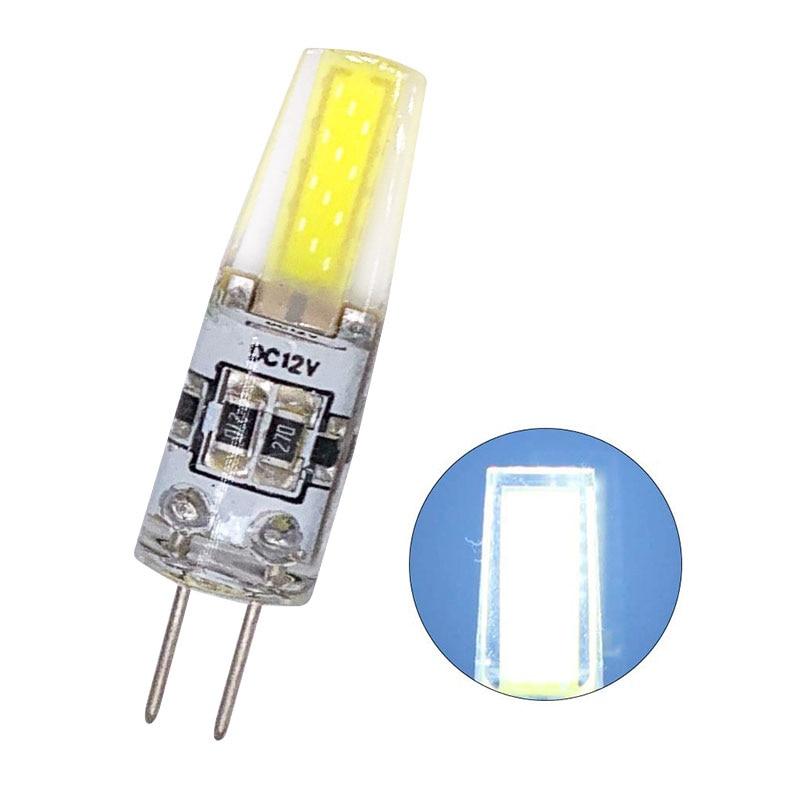 100 piezas al por mayor regulable Mini G4 LED COB lámpara 6W bombilla DC 12V vela luces de silicona reemplazar 30W 40W halógeno para candelabro - 5