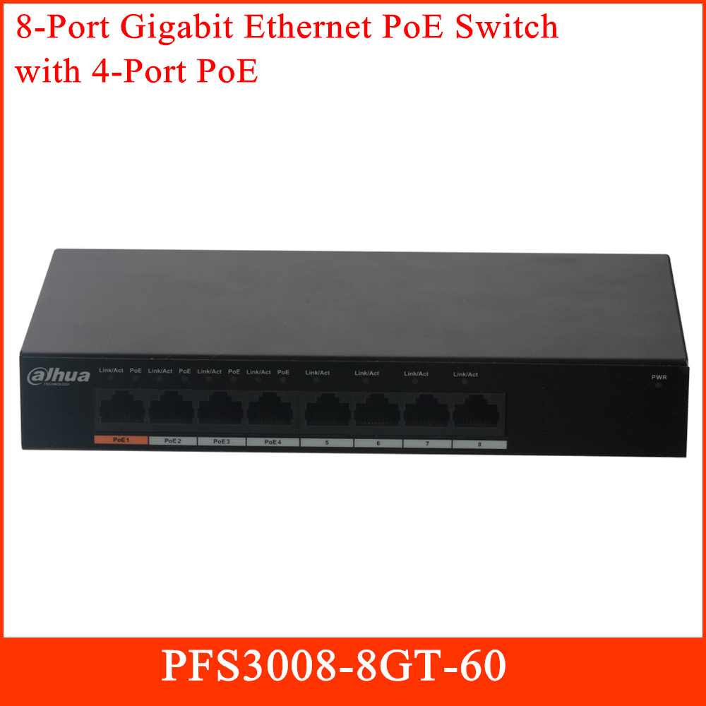 Dahua 8 Port Gigabit Ethernet PoE Switch With 4 Port PoE PFS3008-8GT-60 For CCTV IP Security Systems Transmission Device