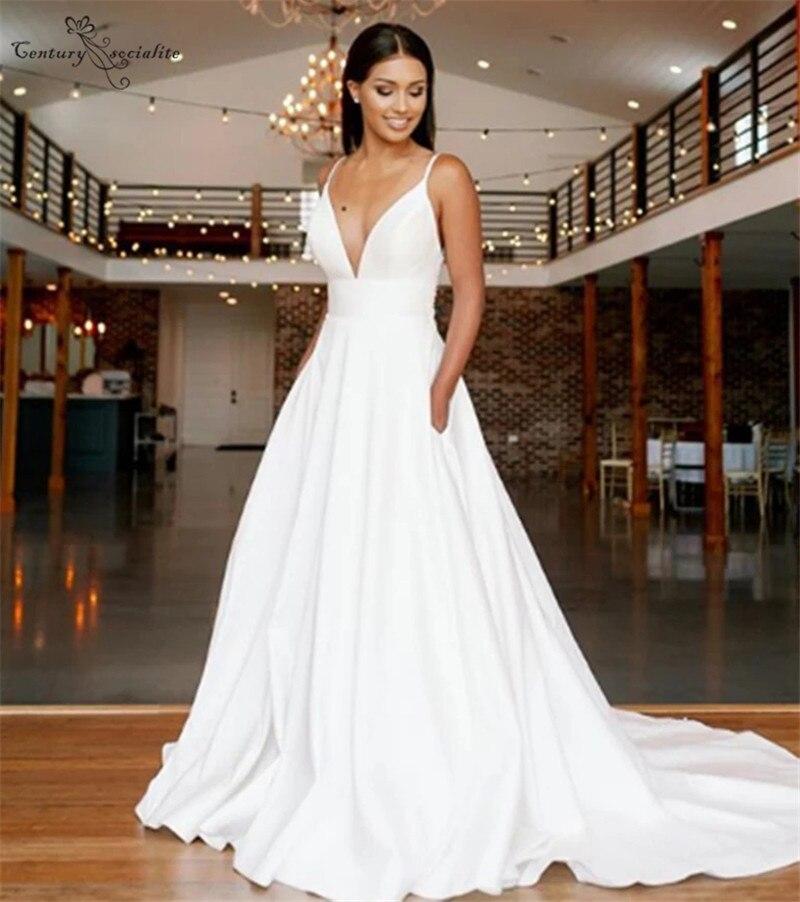 Backless Wedding Dresses Lace Appliques Pockets Deep V-Neck Simple Bridal Wedding Gowns 2020 Vestido De Noiva Robe De Mariee