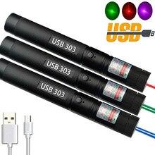 Ponteiro laser usb de carregamento 303 alta potência 5 mw vermelho roxo dot verde caneta laser único ponto estrelado queima lazer alta qualidade