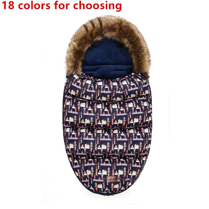 Winter Baby Stroller Sleeping Bag Thicken Warm Infant Stroller Footmuff Wheelchair Newborn Warm Sleepsacks Envelope Sleepsacks