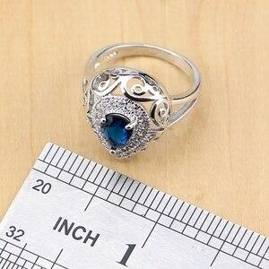 Image 5 - 誇張ブルー石ホワイトcz 925 シルバージュエリーセット女性パーティードロップピアスペンダントリングブレスレットネックレスセット