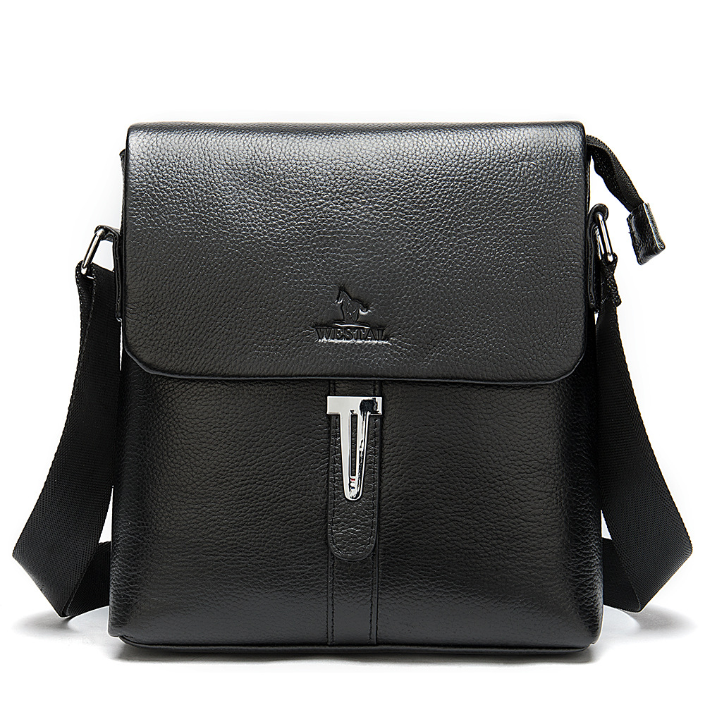 MVA Business Genuine Leather Postman Messenger Men Bag Simple Vertical Shoulder Crossbody Bags Briefcases Travel