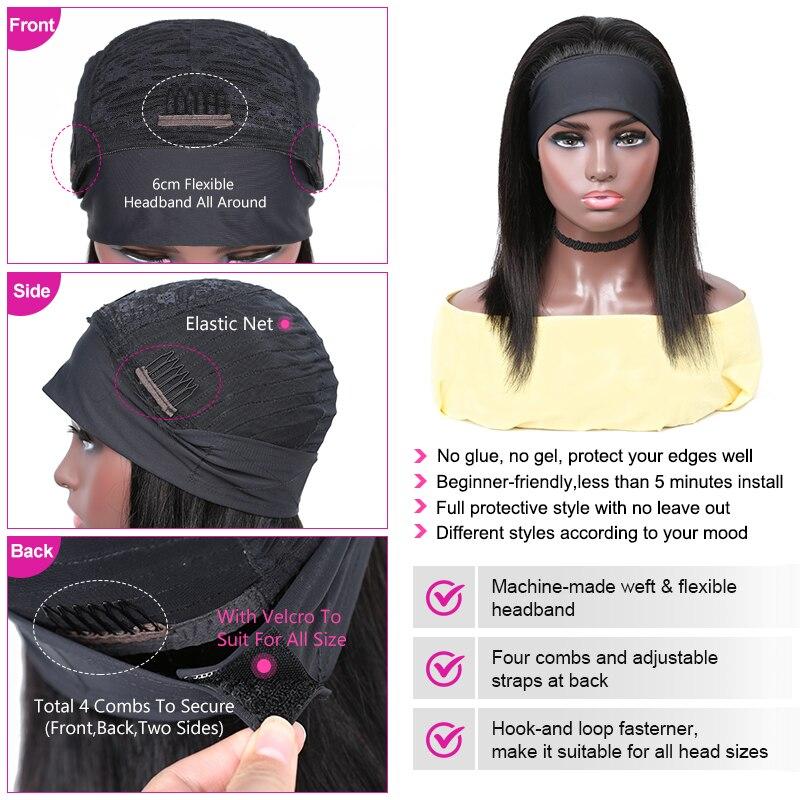 YYong Straight Short Bob Headband Wigs With Scarf 100%  Wig 8-18inch Glueless Full Machine HeadBand Wig Natural Color 4