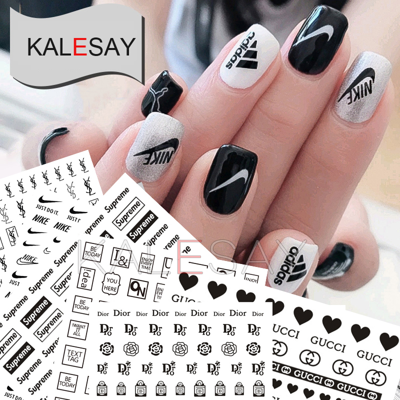 Nail Art Decorations Black White Stickers Manicure Brand Nail Sticker Self-adhesive DIY Decals Tips Gold Nail Art Stickers Decal