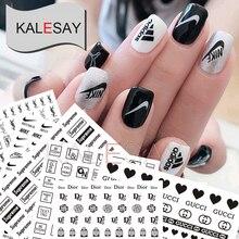 купить Nail Art Decorations Black White Stickers Manicure Brand Nail Sticker Self-adhesive DIY Decals Tips Gold Nail Art Stickers Decal онлайн