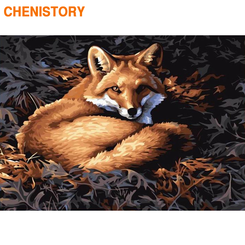CHENISTORY Frame Fox DIY Painting By Numbers Modern Wall Art Picture By Numbers Acrylic Canvas By Numbers For Home Decor Artwork