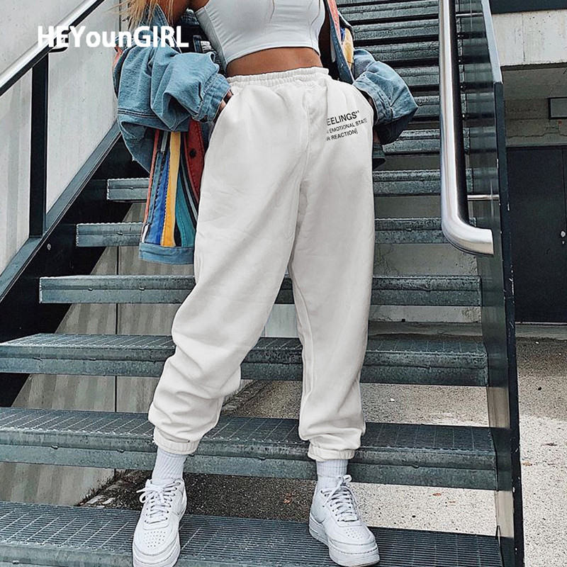 HEYounGIRL Letter Print White Casual Sweatpants Women Fashion High Waisted Long Trousers Ladies Skinny Summer Harem Pants Capris