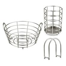 Set of 3 Stainless Steel Napkin Holder Utensil Caddy Fruit Basket Kitchen Counter Home Organizer
