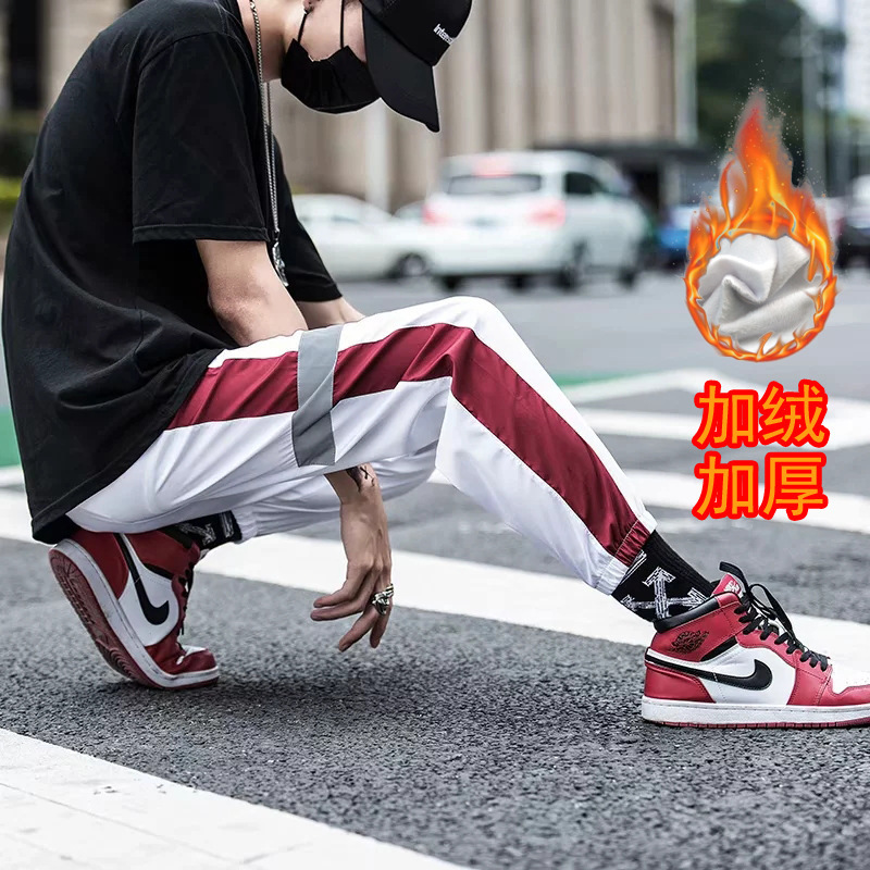Brushed And Thick Winter INS Casual Pants Joint 3m Fan Guang Ku Loose-Fit Versatile Students Athletic Pants