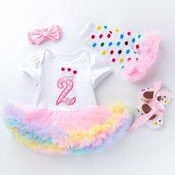 Костюм для новорожденных на 2-й день рождения из 4 предметов, комбинезон, платье-пачка + повязка на голову + леггинсы + обувь для девочек 2 года, ...