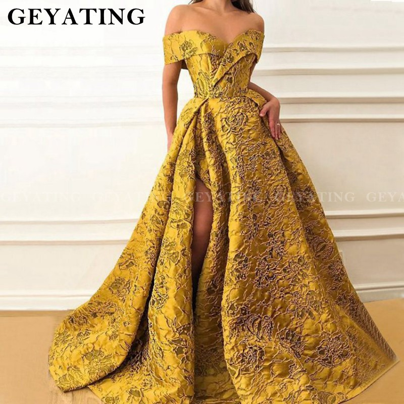 Saudi Arabic Off Shoulder Long   Evening     Dress   2019 Sexy V Neck High Side Split Gold Yellow Gown Women Formal Satin Prom   Dresses