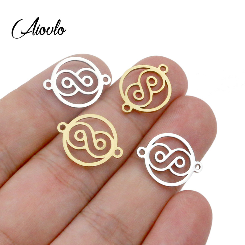 Aiovlo 5pcs/lot Infinite Symbol Connector Hollow Digital 8 Charms Stainless Steel DIY Necklace Bracelet Jewelry Making Wholesale