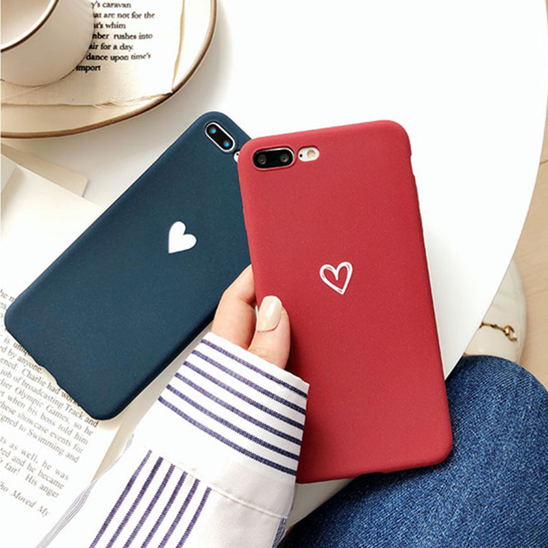 Matte Solid color Red Blue With Love Pattern Cover <font><b>Case</b></font> For <font><b>Samsung</b></font> Galaxy S10 S9 S8 Plus S7 <font><b>S6</b></font> Edge Note 8 9 <font><b>Soft</b></font> Silicone Capa image