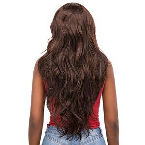 Image 5 - 중간 갈색 합성 머리 레이스 가발 여성을위한 X TRESS 금발 613 긴 물결 모양의 레이스 프론트 가발 자연 헤어 라인 중간 부분