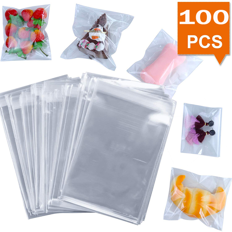 100PCS Heart Flower Plastic Gift Wrap Bag Cookie Candy Package Pouch Holder HS