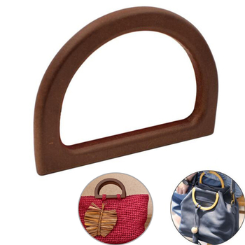D-shaped Wooden Handbag Bag Parts Accessories  Replacement Handle for High Quality DIY