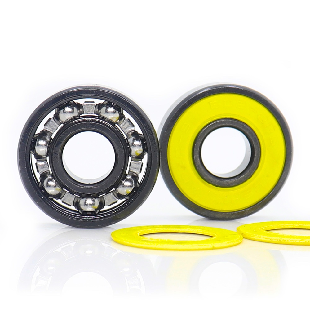 608RS Inline Skate Bearing, Grade <font><b>ABEC</b></font>-<font><b>9</b></font> Yellow V Sealed Steel Cage <font><b>608</b></font> <font><b>2RS</b></font> Ball Bearings, Speed Smooth with Oil, Lot of 10 Pcs image