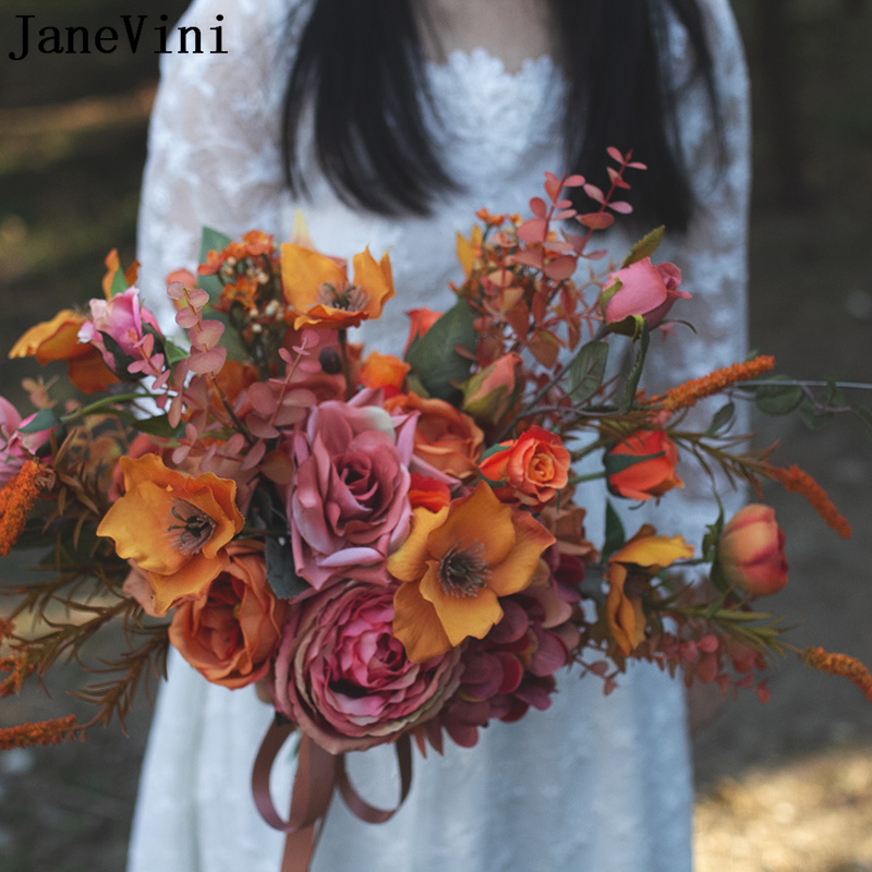JaneVini Vintage Autumn Artificial Flowers Bridal Bouquets 2021 Outside Wedding Bridesmaid Flower Bouquet De Rose Fleurs Soie