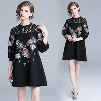 make women's new heavy lace embroidery stitching perspective easing A lantern sleeve type clothing