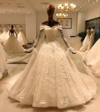 2020 أنيقة الدانتيل كم طويل الكرة ثوب الزفاف العروس casamento رداء طويل vestido دي noiva princesa vestido SL 8031