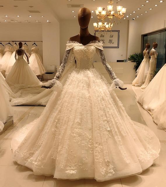 2020 elegant lace long sleeve ball gown wedding dress bride casamento robe longue vestido de noiva princesa vestido SL 8031