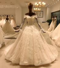 2020 zarif dantel uzun kollu balo cüppe şeklinde gelinlik gelin casamento robe longue vestido de noiva princesa vestido SL 8031