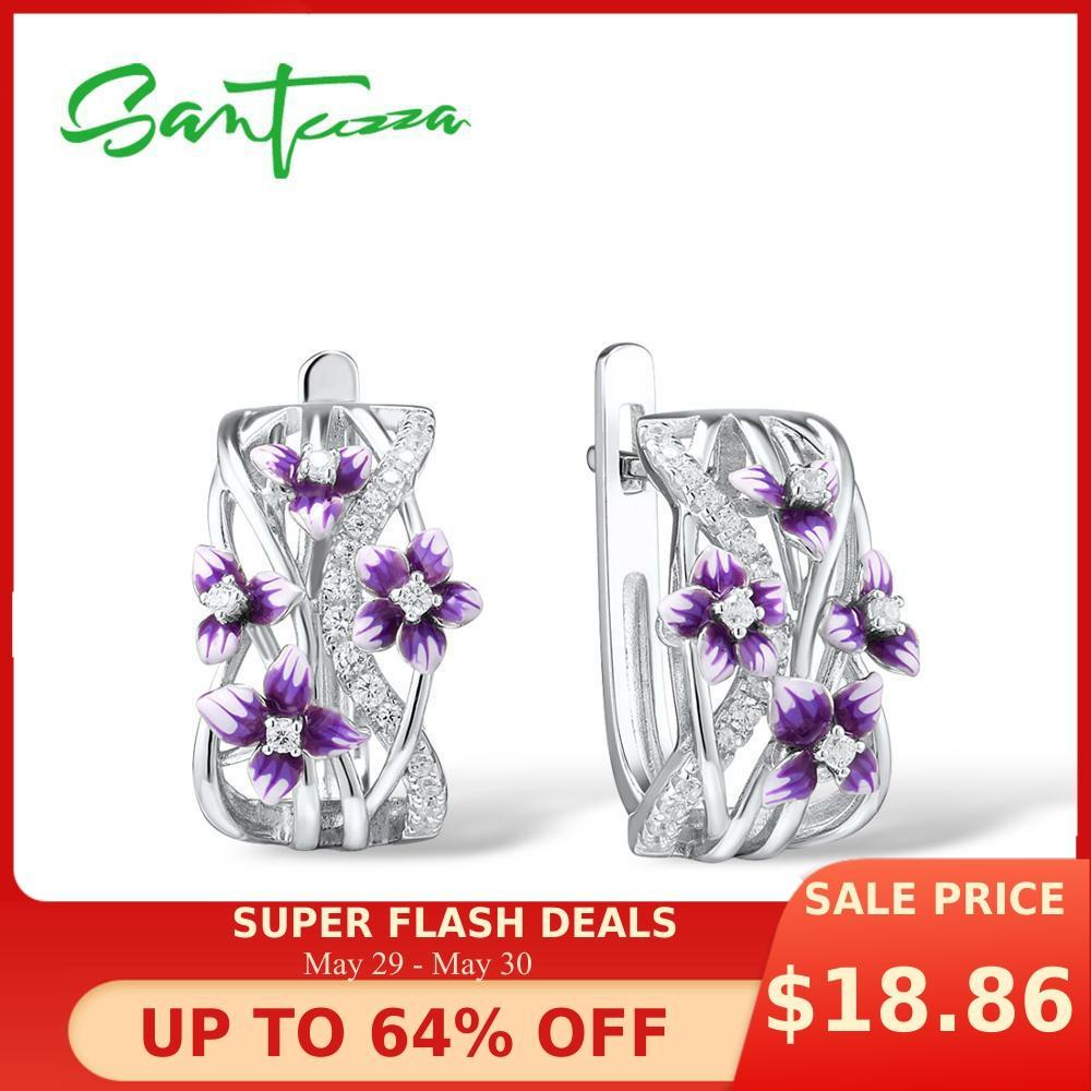 SANTUZZA Silver Earrings For Women Genuine 925 Sterling Silver Delicate Charming Purple Flower Fine Jewelry Handmade Enamel