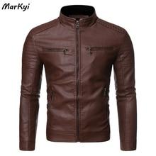 MarKyi Fashion Stand Coallr Motorcycle Causal Vintage Leather Jacket Coat Men Double Pocket Men's Leather Jacket